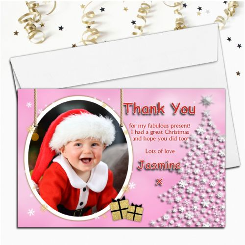 10 Personalised Christmas Thank you Pink Sparkle PHOTO Cards N52